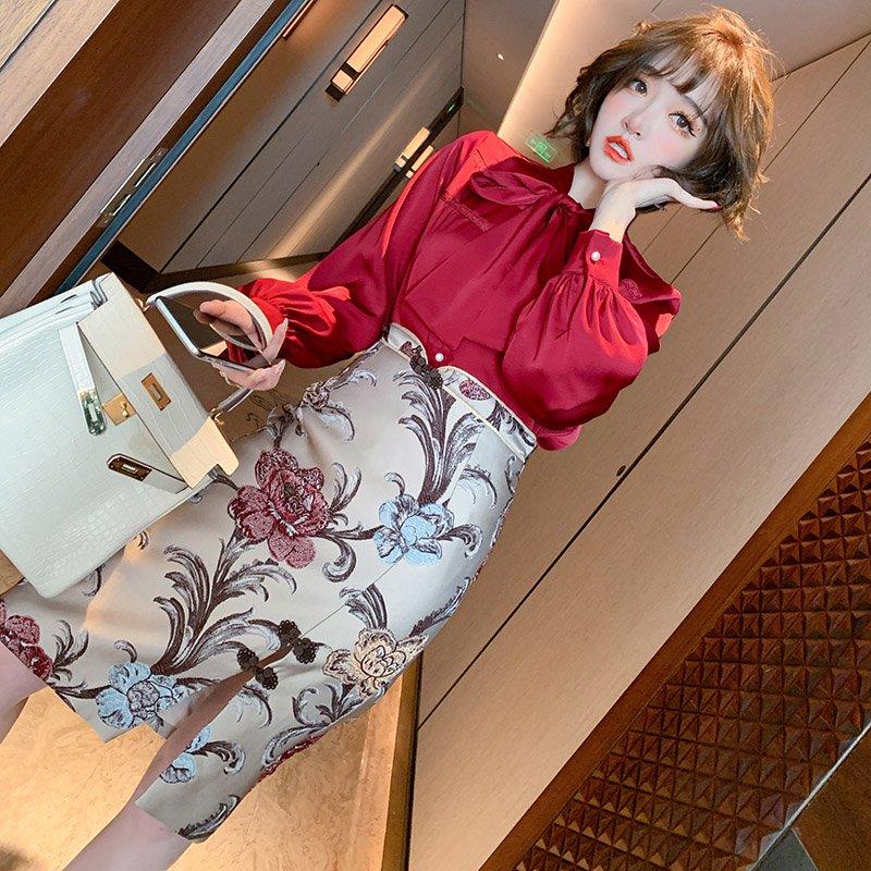 サテン風ボウタイブラウス×チャイナ風花柄タイトスカート【上下別売り可】