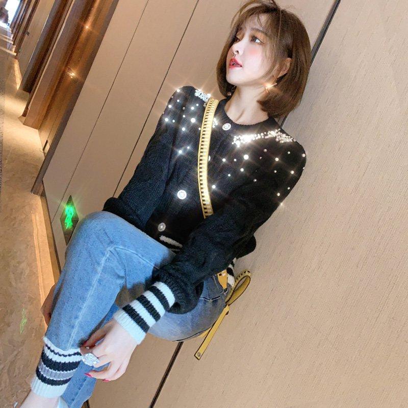 ビジュー付きニットカーディガン×異素材ドッキングジョガーデニムパンツ【上下別売り可】