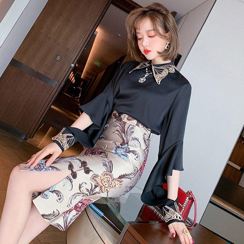刺繍入り袖コンシャスブラウス×花柄チャイナ風スカート【上下別売り可】