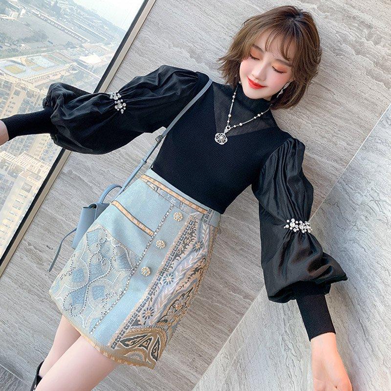 ビジュー付き袖コンシャスニット×ビジュー付きプリントタイトスカート【上下別売り可】