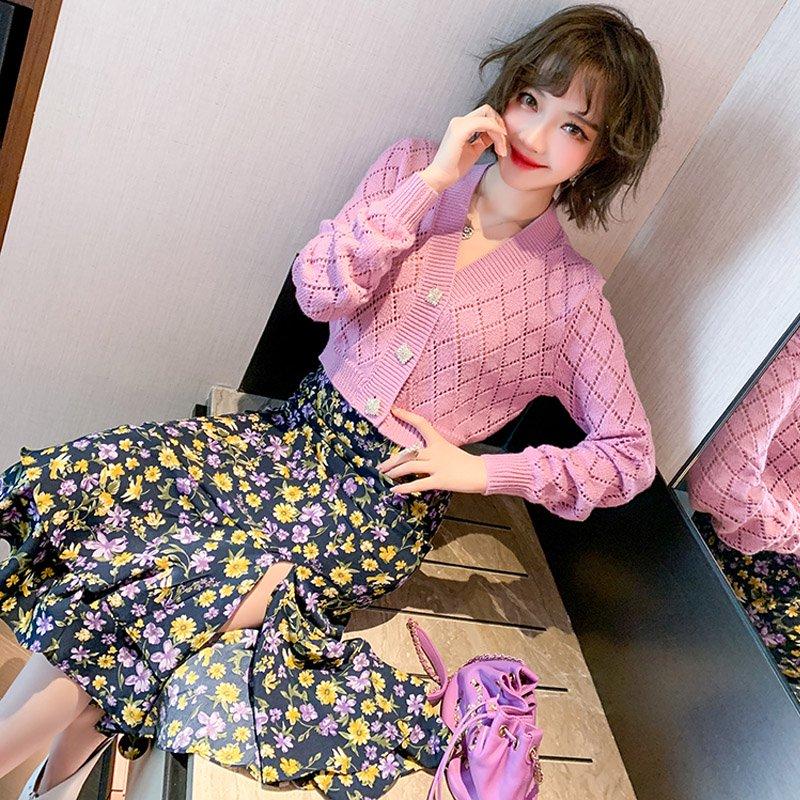 透かし編みニットカーディガン×花柄マーメイドスカート【上下別売り可】