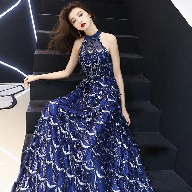 ビジューフリンジホルターネックドレス(2type)