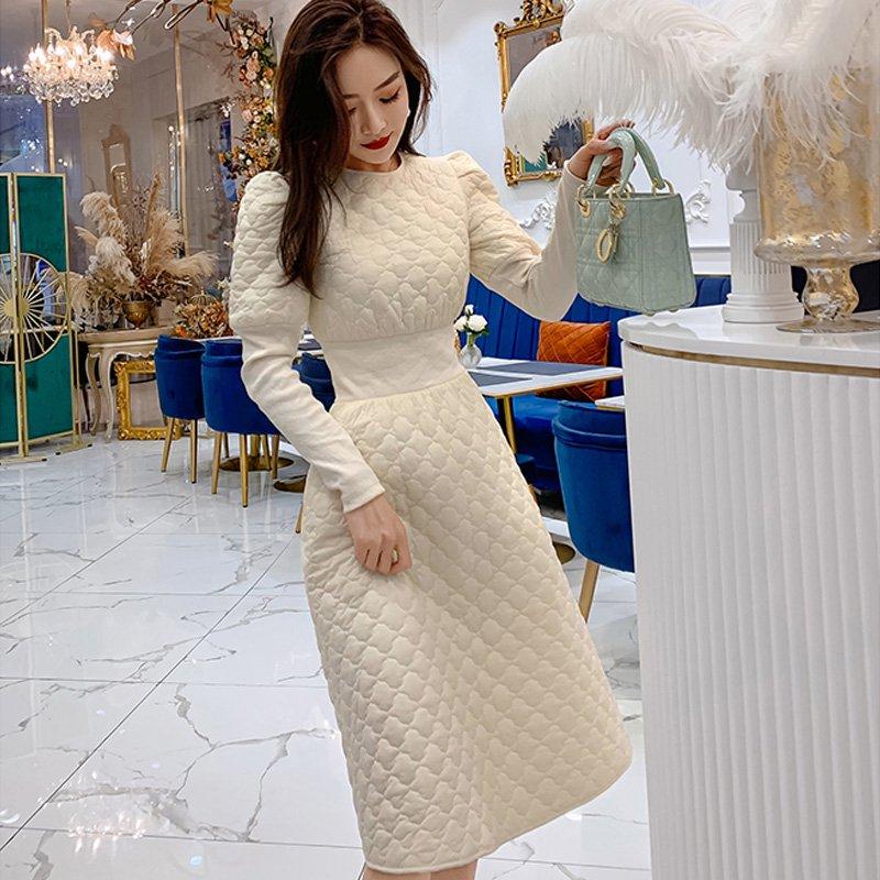 【即納】プリンセススリーブハイウエストキルティングAラインワンピース