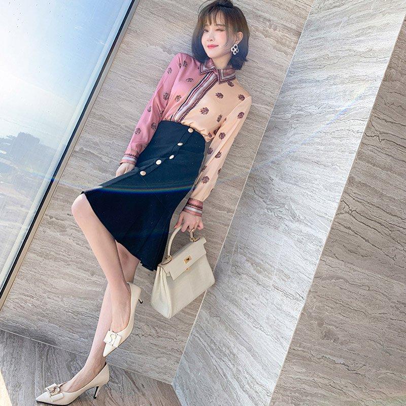エスニック風カラーパネルシャツ×フロントボタンマーメイドスカート【上下別売り可】