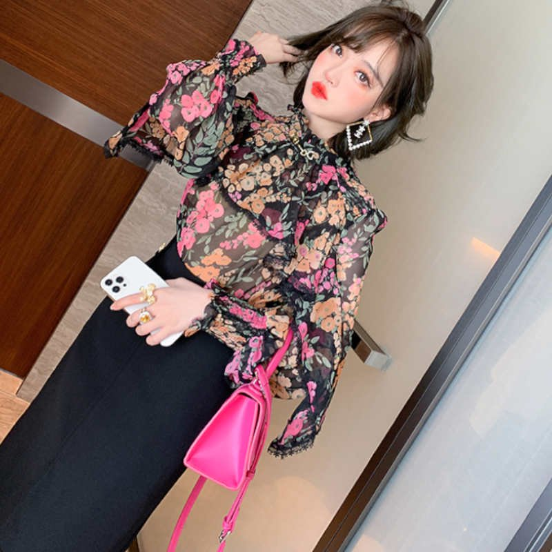 フラワープリントラッフルブラウス×裾レースタイトスカート【上下別売り可】