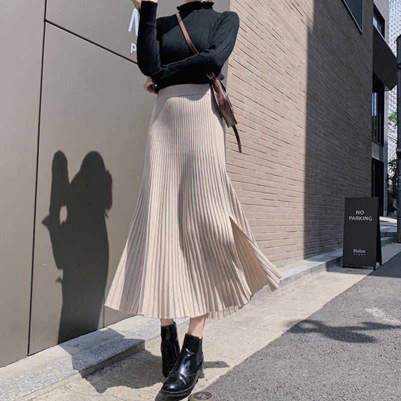 ミディ丈サイドスリットAラインフィッシュテールニットスカート(4colors)