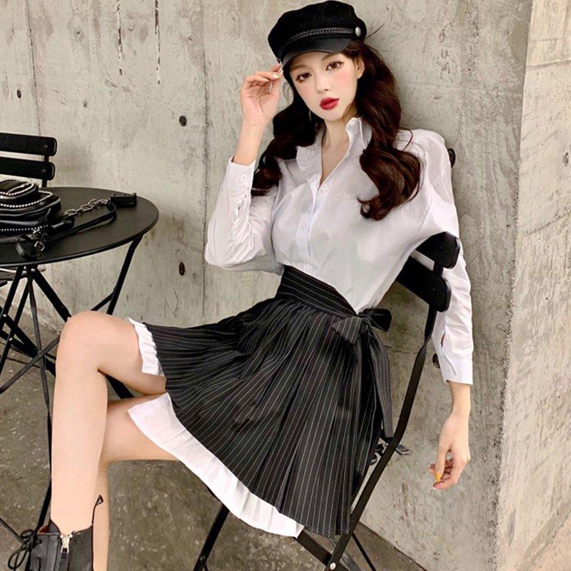 ホワイトシャツワンピース×ラップストライププリーツスカート(2colors)