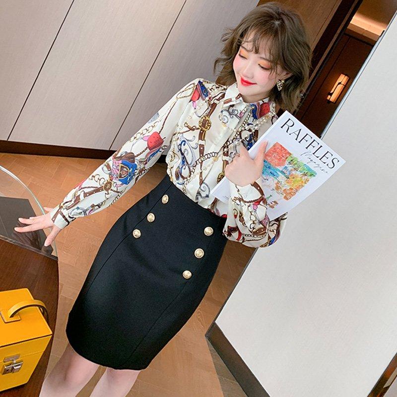 スカーフプリントシャツ×フロントボタンペンシルミニスカート【上下別売り可】