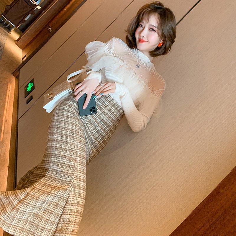 【即納】チェック柄マーメイドスカート