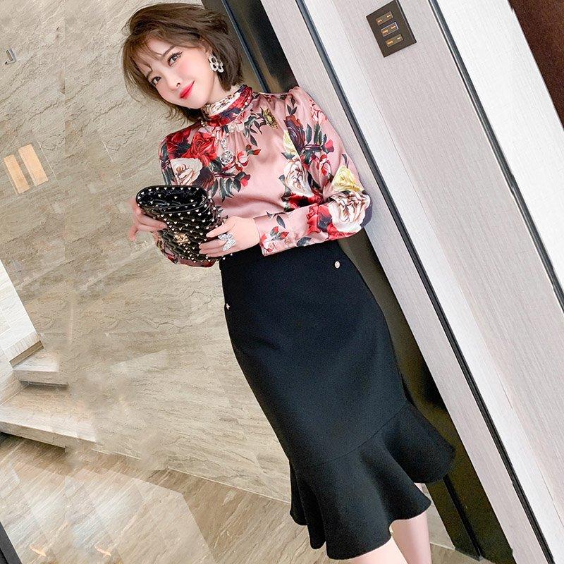 スタンドカラー花柄サテンブラウス×ミディ丈裾フリルスカート【上下別売り可】