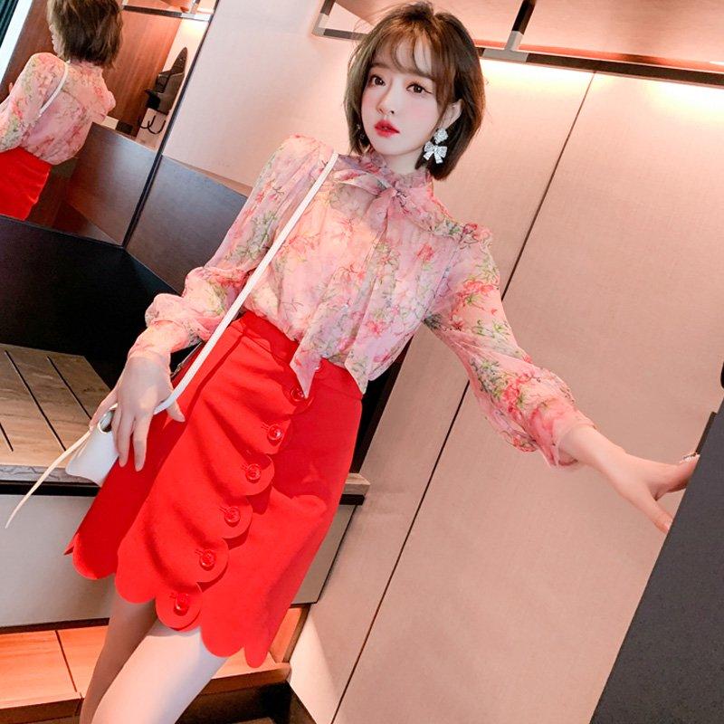 シアー花柄ボウタイブラウス×キャミソール×スカラップミニスカート【上下別売り可】