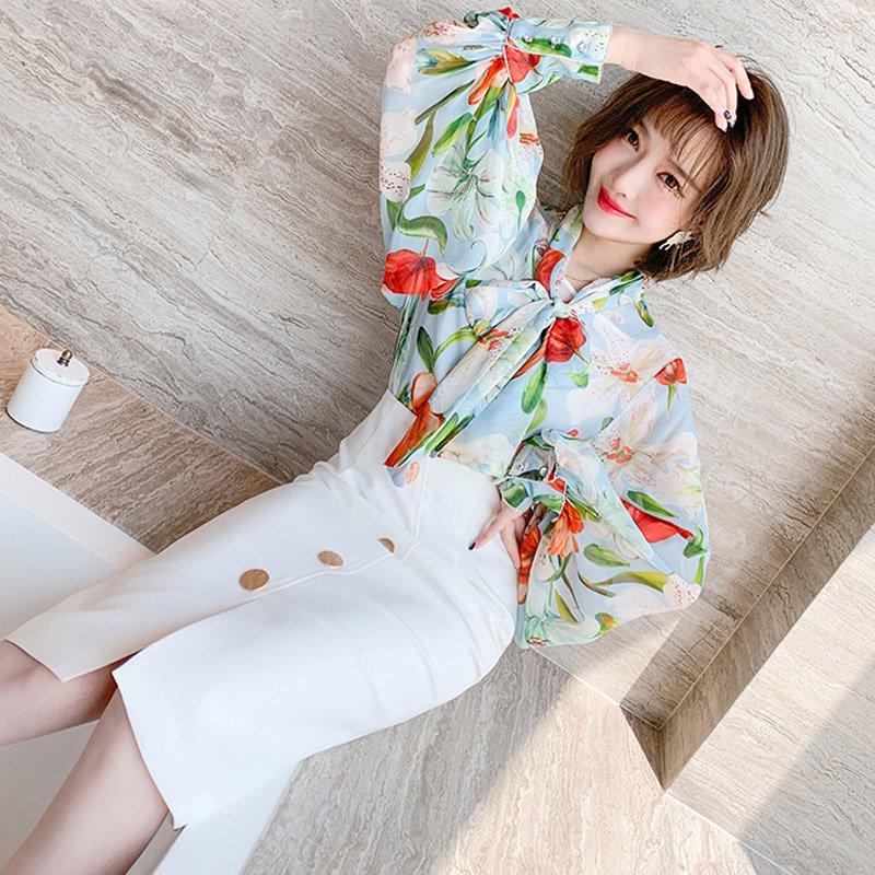 ボリュームスリーブ花柄ボウタイブラウス×フロントボタンペンシルスカート【上下別売り可】