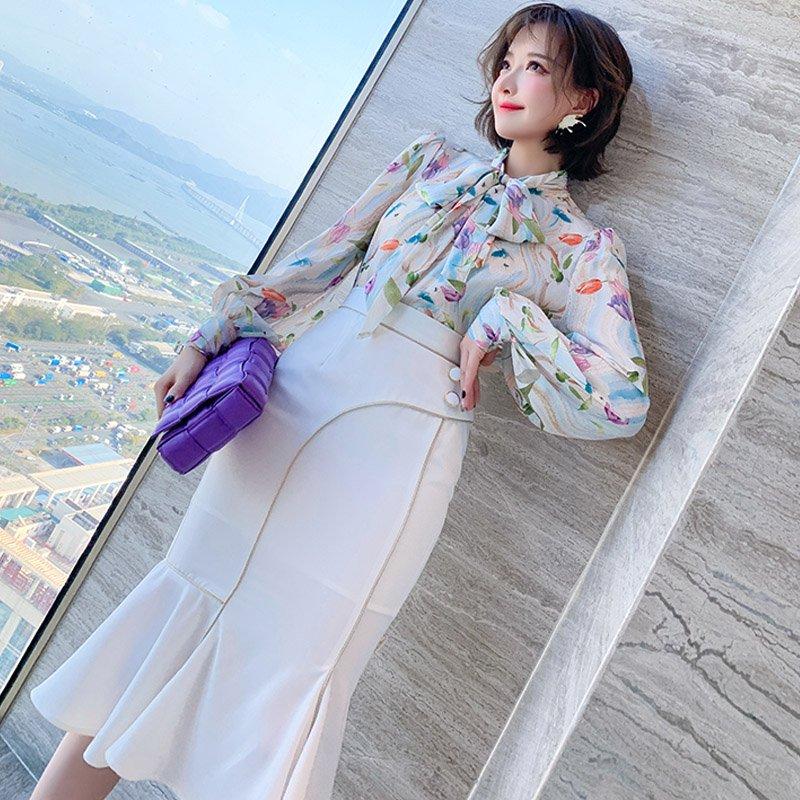 花柄ボウタイブラウス×フロントボタンマーメイドスカート【上下別売り可】