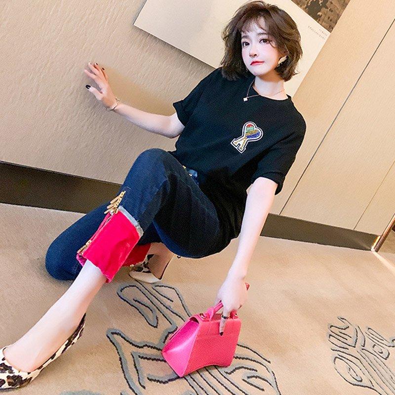 ハートモチーフオーバーTシャツ×異素材MIXジッパーデニムパンツ【上下別売り可】