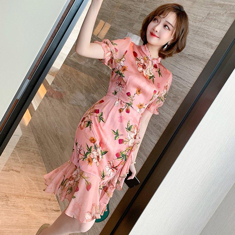 【即納】チャイナ風マーメイド花柄ワンピース