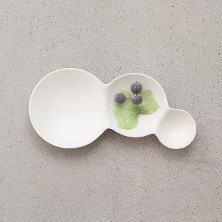 METAPHYS|メタフィス 自然が作り出す美しいフォルム 重なり合うシャボン玉のリズムを表現したsavone 3連仕切り皿 マット艶なし