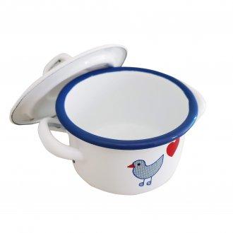 青い鳥 両手なべ(小)ホーロー食器 ミュンダーエマイル社