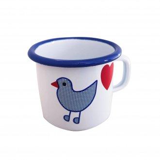 青い鳥 マグカップ 両手なべ(小)ホーロー食器 ミュンダーエマイル社