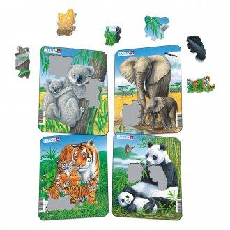 動物の親子 紙製 パズルミニ4枚セット LARSEN/ラーセン社