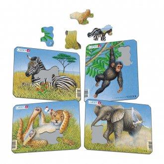動物の赤ちゃん 紙製 パズルミニ4枚セット LARSEN/ラーセン社
