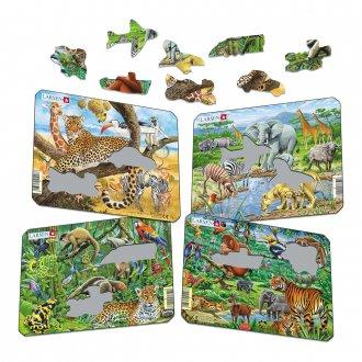 外来の動物 紙製 パズルミニ4枚セット各11ピース  LARSEN/ラーセン社