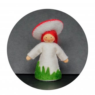 赤いきのこの女の子  ベージュ Ambrosius Doll/アンブロシウス ドール 春の妖精