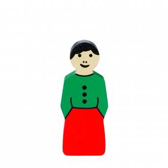 A女の人(緑x赤)  アルビスブランの動物積み木