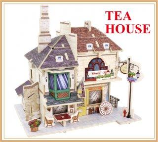 3D木製 パズル イギリス・スタイル  ティーハウス