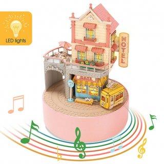 DIY Music Box - ホリデータウン(オルゴール付き)LED付き