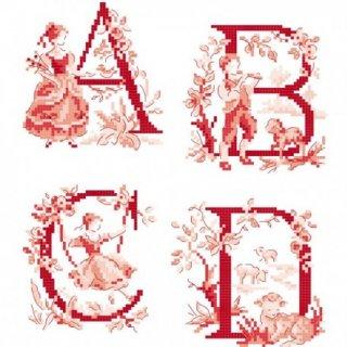 Le grand ABC (Toile de Jouy) rouge (アルファベット ワルドジュイ26のモチーフ) 図案