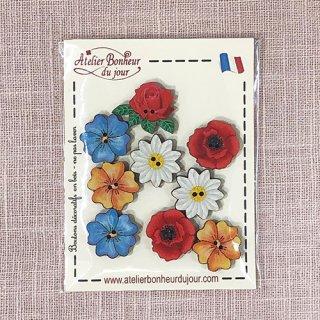フランス 木製ボタンセット - ヒナゲシの花