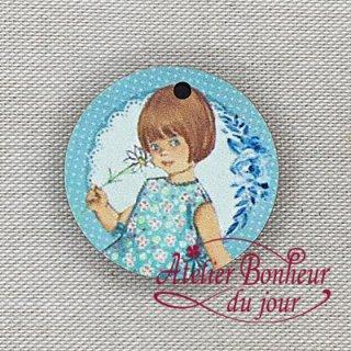 フランス製 木製ボタン 青い小さな女の子