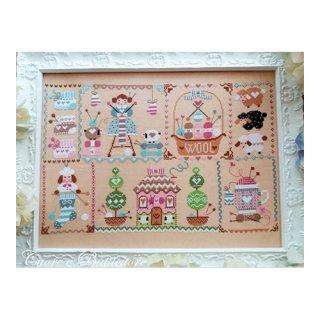 イタリア Cuore e baticuore(クオーレエバッティクオーレ) クロスステッチ図案 Knitting in Quilt キルトで編み物