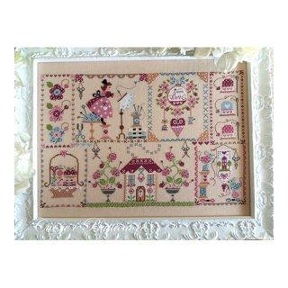 イタリア Cuore e baticuore(クオーレエバッティクオーレ) クロスステッチ図案 Stiching in Quilt キルトの刺繍