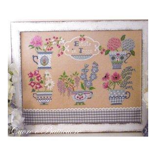 イタリア Cuore e baticuore(クオーレエバッティクオーレ) クロスステッチ図案 Estate in Tazza 夏のお花とマグカップ