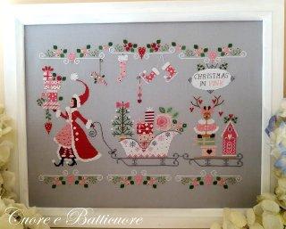クロスステッチ図案  Natale in Rosa ピンクのクリスマス