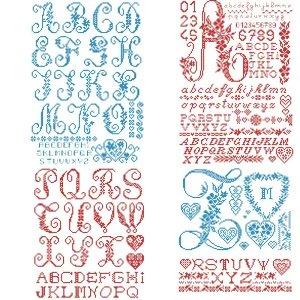 [新作]クロスステッチ図案のみ Monogram Alphabet Chart (モノグラム アルファベット チャート) 図案集