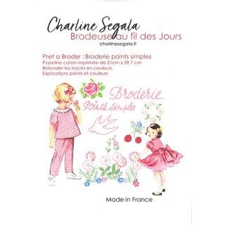 フランス Charline Segala 刺繍キット 女の子とフラワー