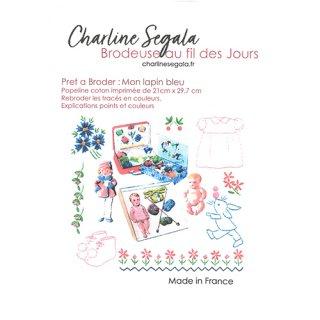 フランス Charline Segala 刺繍キット 私の青いうさぎ