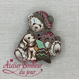 フランス製 木製ボタン Teddy -子犬