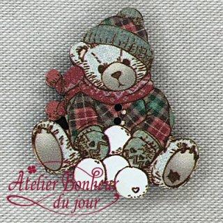 フランス製 木製ボタン Teddy -雪だるま