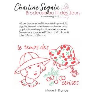 フランス Charline Segala  刺繍キット さくらんぼと女の子(上級者向け)