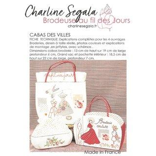 フランス Charline Segala  刺繍図案 都市の買い物袋(上級者向け)
