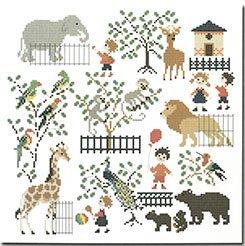 《最新作》クロスステッチ図案 Baby at The Zoo(赤ちゃんと動物園)