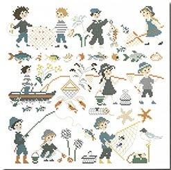 《最新作》クロスステッチ図案 Gone fishing (魚釣りに)大型 多色