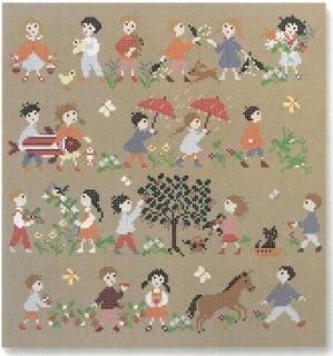 《最新作》クロスステッチ図案 幸せな子供時代シリーズ:春