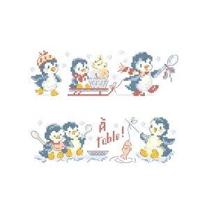 クロスステッチ図案 Les pingouins gourmands(食いしん坊のペンギンたち)