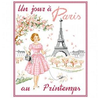 [新作]クロスステッチ図案 Un jour à Paris au printemps(春のパリのある日)