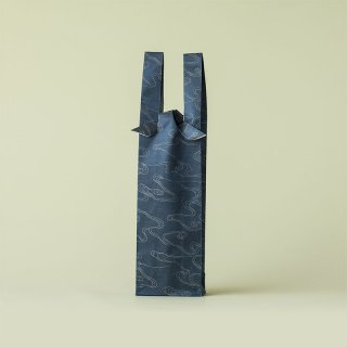 ワインバッグ  緞子 / 紺 水雲