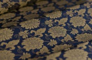 新緞子・紺・二重蔓牡丹唐草(20センチ〜・価格は10センチあたり)